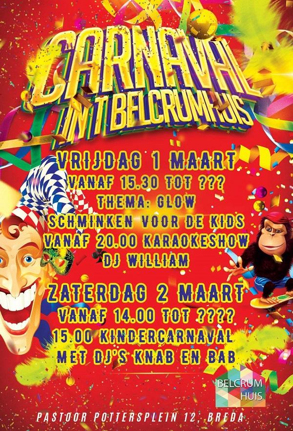 Vrijdag 1 mrt Carnaval vanaf 15.30 uur
